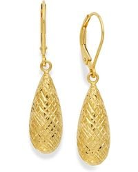 Giani Bernini | 18k Gold Over Sterling Silver Earrings, Diamond-cut Teardrop Leverback Earrings | Lyst