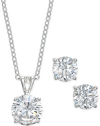 City By City - Silver-tone Crystal Stud Earrings And Pendant Necklace Set - Lyst
