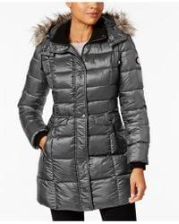 Bernardo - Faux-fur-trim Hooded Puffer Coat - Lyst