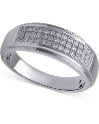 Beautiful Beginnings - Men's Diamond Wedding Band (1/5 Ct. T.w.) In Sterling Silver - Lyst