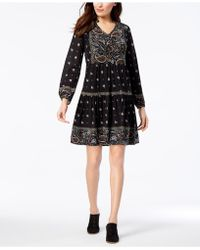 Style & Co. - Petite Printed Bubble-sleeve Peasant Dress, Created For Macy's - Lyst