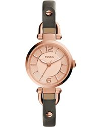 Fossil - Women's Georgia Gray Leather Strap Watch 26mm Es3862 - Lyst
