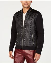 INC International Concepts - Faux Leather Cable Bomber Jacket, Created For Macy's - Lyst