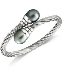 Macy's - Pearl Bracelet, Stainless Steel Tahitian Cultured Freshwater Pearl Wrap Bangle (10mm) - Lyst