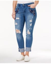 Rampage - Trendy Plus Size Sophie Ripped Ann Wash Skinny Jeans - Lyst