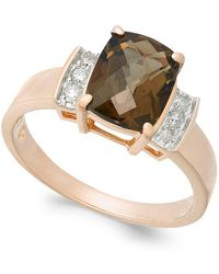 Macy's - Smoky Quartz (1-9/10 Ct. T.w.) & Diamond (1/8 Ct. T.w.) Ring In 14k Rose Gold - Lyst