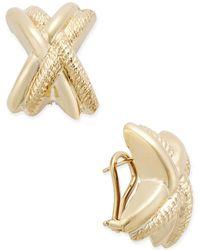 Macy's - Etched X Clip-on Earrings In 14k Gold - Lyst