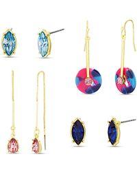 Kensie - Rhinestone Geo Stud, Hook And Threader 4 Piece Earring Set - Lyst