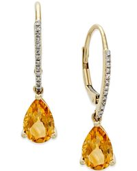Macy's - Citrine (2 Ct. T.w.) And Diamond Accent Drop Earrings In 14k Gold - Lyst