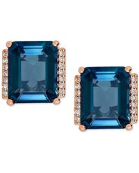 Macy's - London Blue Topaz (5-3/4 Ct. T.w.) And Diamond Accent Earrings In 14k Rose Gold - Lyst