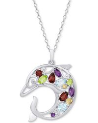 """Macy's - Multi-gemstone Openwork Dolphin 18"""" Pendant Necklace (2-1/8 Ct. T.w.) In Sterling Silver - Lyst"""