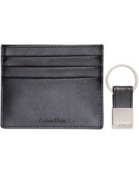 Calvin Klein - Saffiano Leather Two-tone Card Case & Key Fob - Lyst