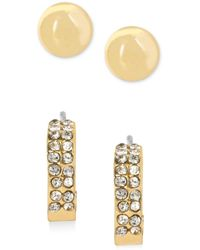 Hint Of Gold - Stud And Hoop Earring Set In 14k Gold Plating - Lyst