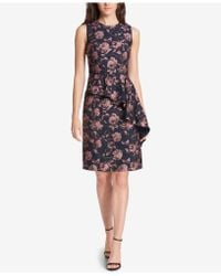 Vince Camuto - Floral Ruffled Jacquard A-line Dress - Lyst