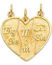 Macy's | 14k Gold Charm, Break Apart Big Sis, Mom And Lil Sis Charm | Lyst
