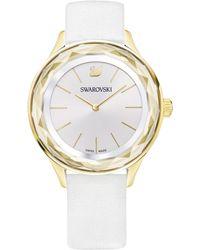 Swarovski - Women's Swiss Octea Nova White Leather Strap Watch 36mm - Lyst