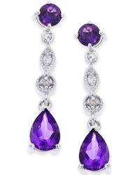 Macy's - Amethyst (1-3/4 Ct. T.w.) & Diamond Accent Drop Earrings In 14k White Gold - Lyst