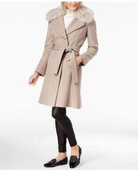 T Tahari - Faux-fur-trim Belted Wrap Coat - Lyst