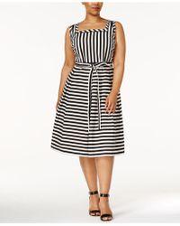 Anne Klein - Plus Size Striped Fit & Flare Dress - Lyst