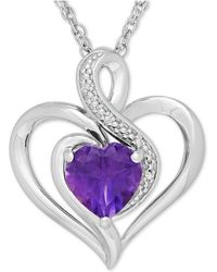 Macy's - Amethyst (1-1/10 Ct. T.w.) And Diamond Accent Heart Pendant Necklace In Sterling Silver - Lyst