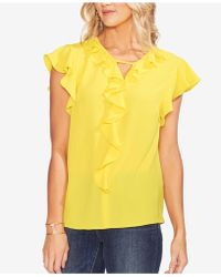 Vince Camuto - Ruffle-trim V-neck Top - Lyst