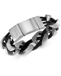 Macy's - Men's Linked Bracelet In Leather And Stainless Steel - Lyst