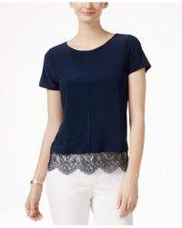 Cece by Cynthia Steffe - Scalloped Lace-trim T-shirt - Lyst