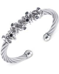 Charriol - Women's Silver-tone Black Spinel Cable Bangle Bracelet - Lyst