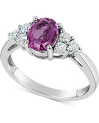 Macy's - Pink Sapphire (1-1/2 Ct. T.w.) & Diamond (1/3 Ct. T.w.) Ring In 14k White Gold - Lyst