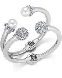 INC International Concepts - Imitation Pearl And Crystal Fireball Hinge Bracelet Set - Lyst