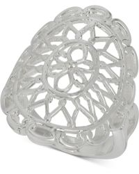 Touch Of Silver - Filigree Drama Ring In Silver-plated Metal - Lyst
