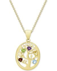 Macy's - Multi-gemstone Tree Of Life Pendant Necklace (3/4 Ct. T.w.) In 14k Gold-plated Sterling Silver - Lyst