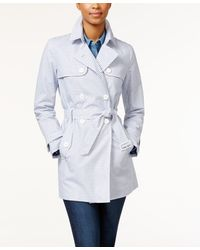 Tommy Hilfiger Belted Oxford-striped Trench Coat