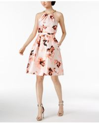 CALVIN KLEIN 205W39NYC - Floral-print Beaded Halter Dress - Lyst