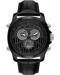 Sean John - Men's Portofino Black Leather Strap Watch 47mm - Lyst