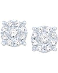 Macy's - Diamond Halo Cluster Stud Earrings (1/5 Ct. T.w.) In 10k White Gold - Lyst