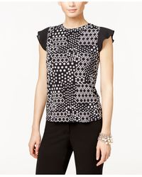 Cece by Cynthia Steffe - Printed Ruffle-sleeve Top - Lyst