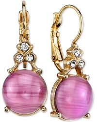 2028 | Gold-tone Light Purple Stone And Crystal Accent Drop Earrings | Lyst