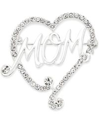 """Charter Club - Silver-tone """"mom"""" Pave Heart Pin, Only At Macy's - Lyst"""