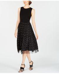 Calvin Klein - Imitation Pearl Mesh A-line Dress - Lyst
