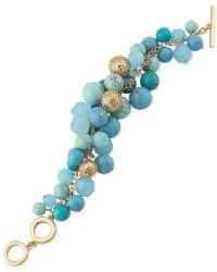 Carolee - Gold-tone Blue Bead Cluster Bracelet - Lyst