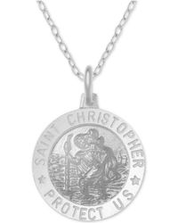 """Macy's - St Christopher Medallion 18"""" Pendant Necklace In Sterling Silver - Lyst"""