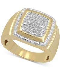 Macy's - Diamond Cluster Style Ring (1/10 Ct. T.w.) In 10k Gold-plated Sterling Silver - Lyst