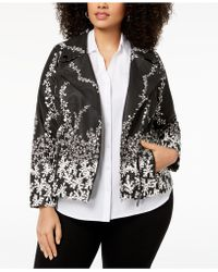 Alfani - Plus Size Printed Faux-leather Moto Jacket, Created For Macy's - Lyst