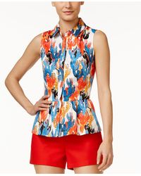 Cece by Cynthia Steffe - Sleeveless Printed Peplum Blouse - Lyst