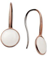Skagen   Sea Glass Rose Gold-tone Stainless Steel White Stone Drop Earrings Skj0824   Lyst