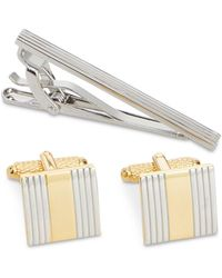 Perry Ellis - Classic Cuff Links & Tie Bar Set - Lyst