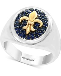 Effy Collection - Blue Sapphire Fleur-de-lis Ring (3/4 Ct. T.w.) In Sterling Silver & 18k Gold - Lyst
