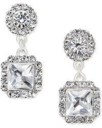 Charter Club - Silver-tone Cushion-cut Crystal Earrings - Lyst