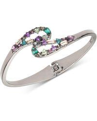 Carolee - Hematite-tone Multi-crystal Bangle Bracelet - Lyst